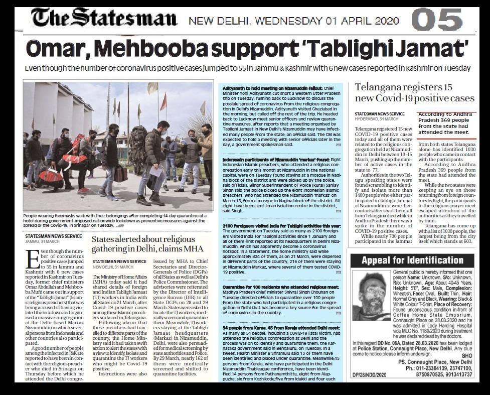 Omar, Mehbuba defend Markaz , The Statesman, 01-04-2020-