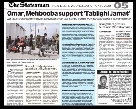 Omar, Mehbuba defend Markaz , The Statesman, 01-04-2020-