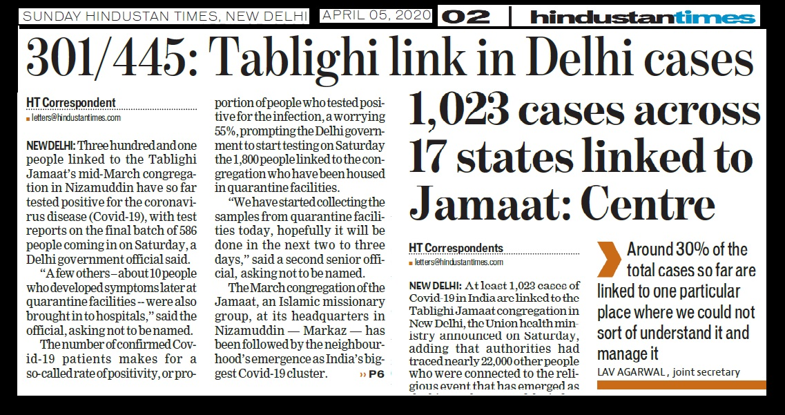 Tabliq affected more,hindustan times, 05-04-2020