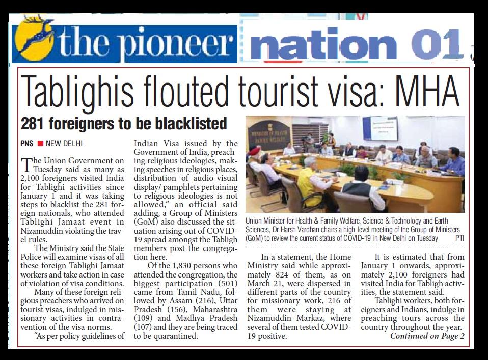 Tabliq flouted tourist visas, The Pioneer, 01-04-2020