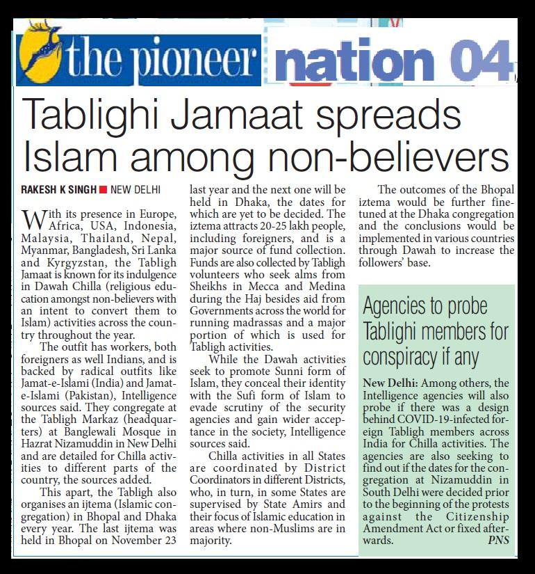 Tabliq spreads Islam, , The Pioneer, 01-04-2020