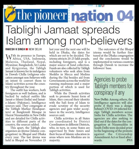Tabliq spreads Islam, , The Pioneer, 01-04-2020