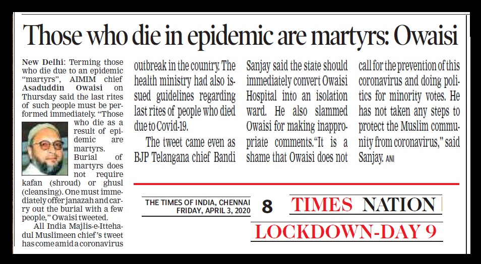 Those who die in epidemics are martyrs. MIM, TOI, 03-04-2020